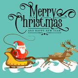 Santa claus in a red hat and jacket, with a beard rushes in a sleigh chasing his reindeer, marry of christmas and happy. New year vector illustration Stock Images