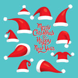 Santa Claus Red Hat Set, Christmas Clothes Elements Royalty Free Stock Photo
