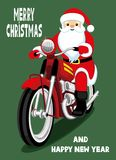Santa Claus on a red motorcycle. Cheerful Santa Claus on a red retro motorcycle royalty free illustration