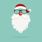Santa Claus red nose mask in flat design. Vector . Stock Image