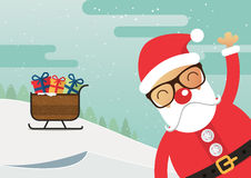 Santa Claus red nose and santa sleigh with merry christmas landscape. Royalty Free Stock Images