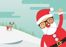 Santa Claus red nose with winter landscape. Christmas holiday. Royalty Free Stock Photo