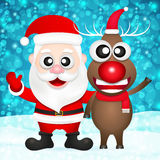 Santa claus and red nosed reindeer Stock Images