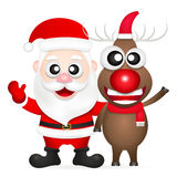 Santa claus and red nosed reindeer. Vector christmas illustration of santa claus and red nosed reindeer Stock Photos