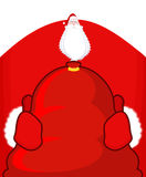 Santa Claus and red sack. Big bag with gifts. Giving gifts at Ch Stock Photos