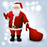 Santa Claus with red sack over white Royalty Free Stock Photos