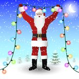 Santa Claus in a red suit is holding a New Year`s illumination garland in his hands. Vector image Royalty Free Stock Photography