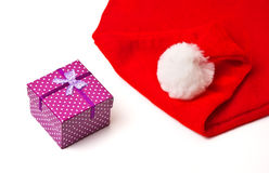Santa Claus red and white hat and christmas gift Stock Photo