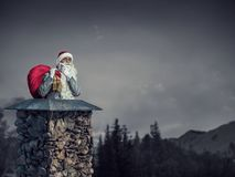 Santa Claus is reeds hier Gemengde media Stock Foto's