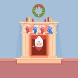 Santa Claus regarde de la cheminée illustration stock