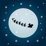 Santa claus and rein deers with moon. Illustration of santa claus flying with his rein deers in christmas time with night sky and moon Royalty Free Stock Images