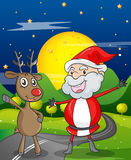 A santa claus and a reindeer Royalty Free Stock Image