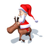 Santa Claus on a reindeer Stock Images