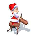 Santa Claus on a reindeer Royalty Free Stock Photos