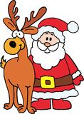 Santa Claus with reindeer royalty free illustration