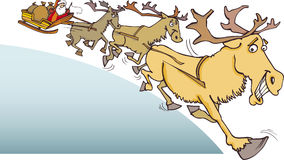 Santa claus with reindeer. Illustration of santa claus on sledge with presents and reindeer Stock Photography