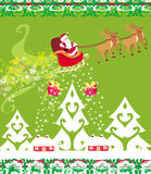 Santa Claus and reindeer - Abstract Christmas card Stock Photography