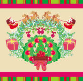Santa Claus and reindeer - Abstract Christmas card Royalty Free Stock Photography