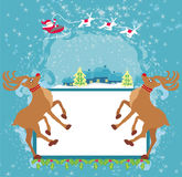 Santa Claus and reindeer - Abstract Christmas card Royalty Free Stock Photos