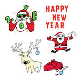 Santa Claus Reindeer avec la nouvelle année de cadeaux Photo stock