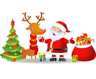 Santa Claus and Reindeer with a bag of Christmas Stock Photo