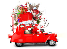 Santa Claus with reindeer. In a car with gifts Royalty Free Stock Photo