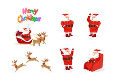 Santa Claus and reindeer, cartoon characters animation, posture royalty free illustration