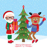Santa Claus and reindeer are celebrating Christmas and New Year Royalty Free Stock Images
