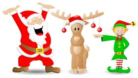 Santa claus, reindeer and christmas elf on white Royalty Free Stock Photos
