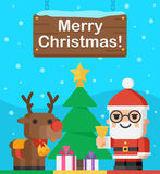 Santa Claus and reindeer Christmas illustration Royalty Free Stock Photo