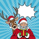 Santa claus with reindeer Christmas pop art. Vector illustration graphic vector illustration