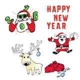Santa Claus Reindeer com ano novo dos presentes Foto de Stock