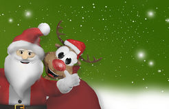 Santa claus and reindeer corner 3d Royalty Free Stock Photography