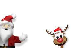 Santa claus and reindeer corner red 3d Stock Photos