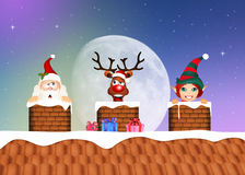 Santa Claus, reindeer and elf in the chimney Stock Images