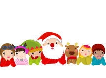 Santa Claus, Reindeer, Elf and Kids Stock Image
