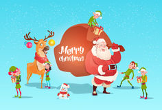 Santa Claus With Reindeer Elfs Gift Sack Happy New Year Merry Christmas Banner Stock Image