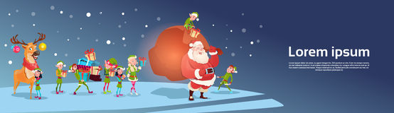 Santa Claus With Reindeer Elfs Gift Sack Happy New Year Merry Christmas Banner Royalty Free Stock Image