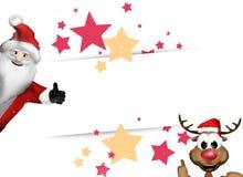 Santa Claus and Reindeer Festive Stars. Graphic illustration Stock Photo