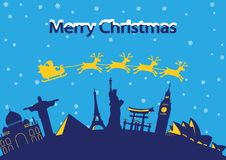 Santa Claus and reindeer fly around the world landmark, to send. Gift to people,lots of ,blue and yellow style,silhouette,vector illustration Royalty Free Stock Images
