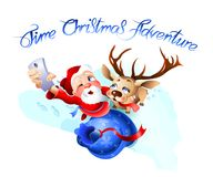 Santa Claus and the reindeer getting ready for Christmas. Royalty Free Stock Images