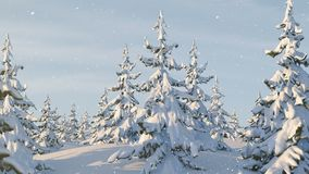 Santa Claus with Reindeer Goes on the Way. Beautiful 3d Animation with a Merry Christmas Text on a Green Background