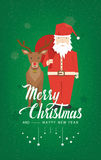 Santa Claus and Reindeer on a green background vector. Stock Photo