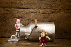 Santa Claus and  reindeer greeting background Royalty Free Stock Photography