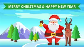 Santa Claus and Reindeer Icon Vector illustration Royalty Free Stock Photos