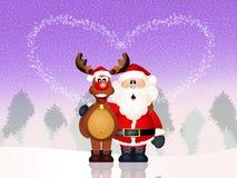 Santa Claus and reindeer. Illustration of reindeer and Santa Claus Stock Photos