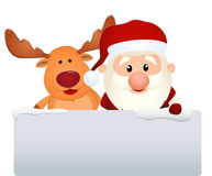 Santa claus with reindeer stock illustration