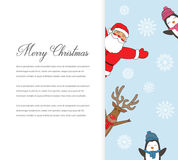 Santa Claus with Reindeer and Penguins. Cartoon character. Christmas card. Merry Christmas title written in blank space Royalty Free Stock Photo