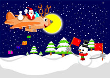 Santa claus and reindeer plane Royalty Free Stock Photos