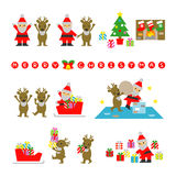 Santa Claus and Reindeer, prepare for Christmas. File Royalty Free Stock Photo